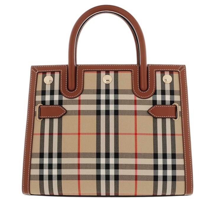 Handtasche, Burberry, Small Title Check Shoulder Bag Archive Beige
