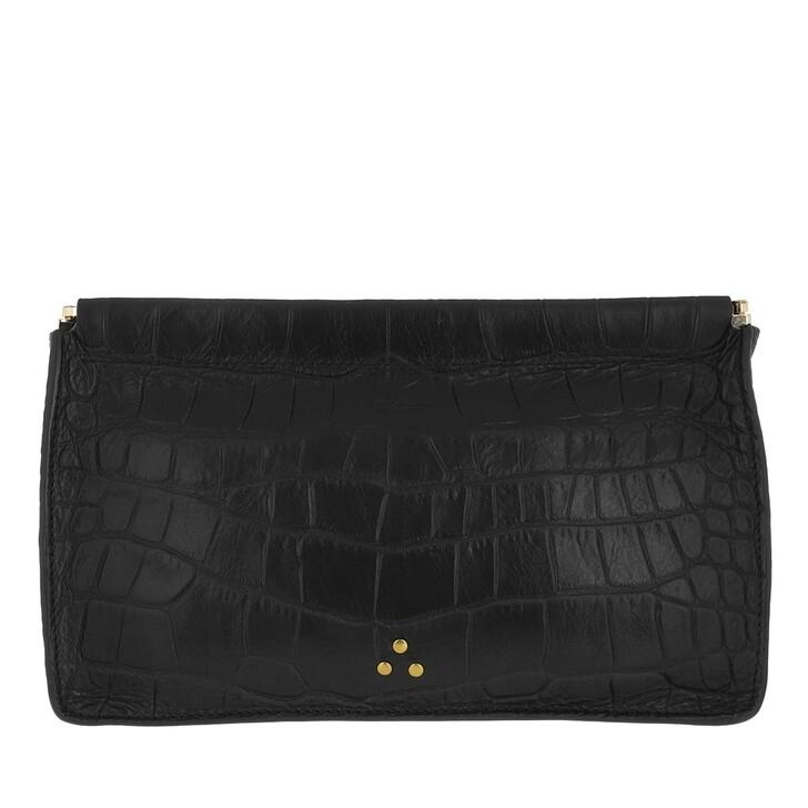 Handtasche, Jerome Dreyfuss, Clic Clac Large Clutch Croco Noir