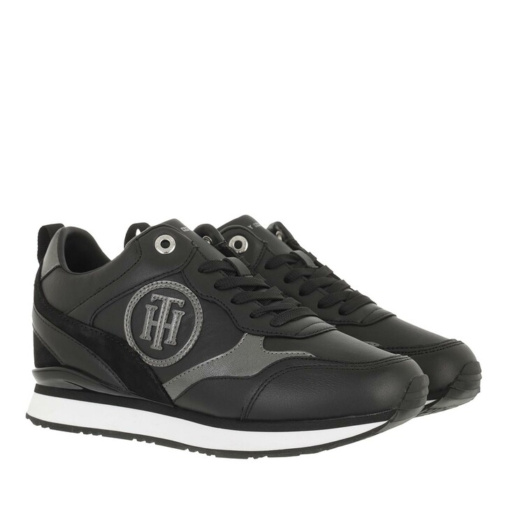 shoes, Tommy Hilfiger, Metallic Dressy Wedge Sneaker Black