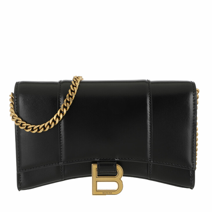 wallets, Balenciaga, Hourglass Mini Wallet On Chain Shiny Black