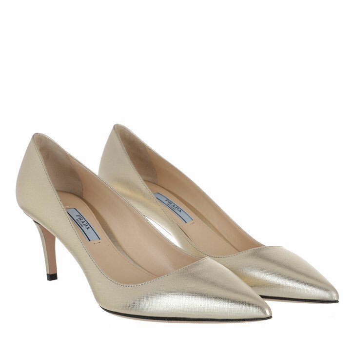 Schuh, Prada, Pumps Leather Gold