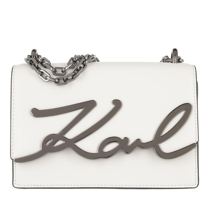 bags, Karl Lagerfeld, Signature all Shoulderbag White