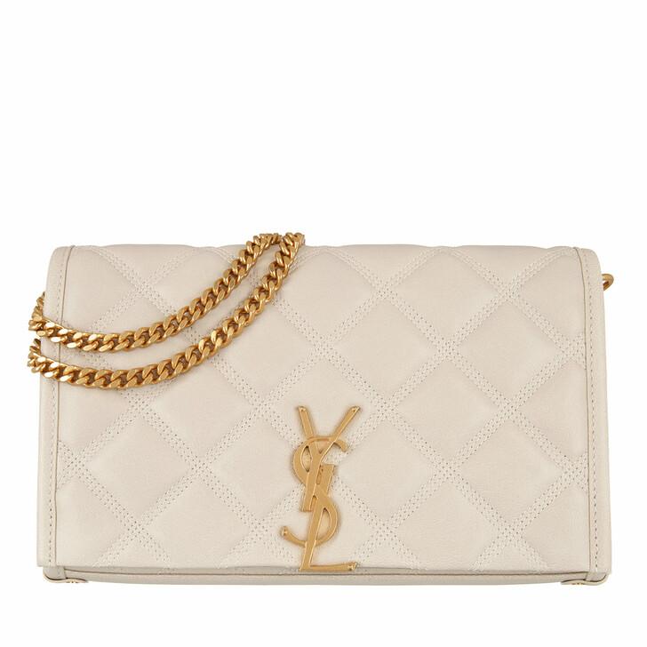 Handtasche, Saint Laurent, Becky Chain Wallet Diamond-Quilted Lambskin Crema Soft