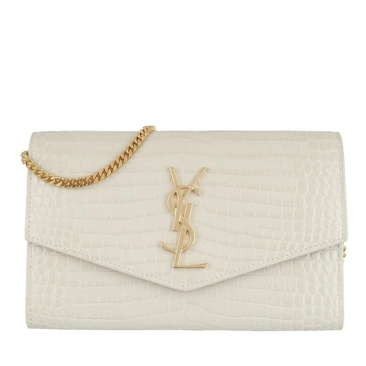 wallets, Saint Laurent, Uptown Chain Wallet Croco Crema Soft