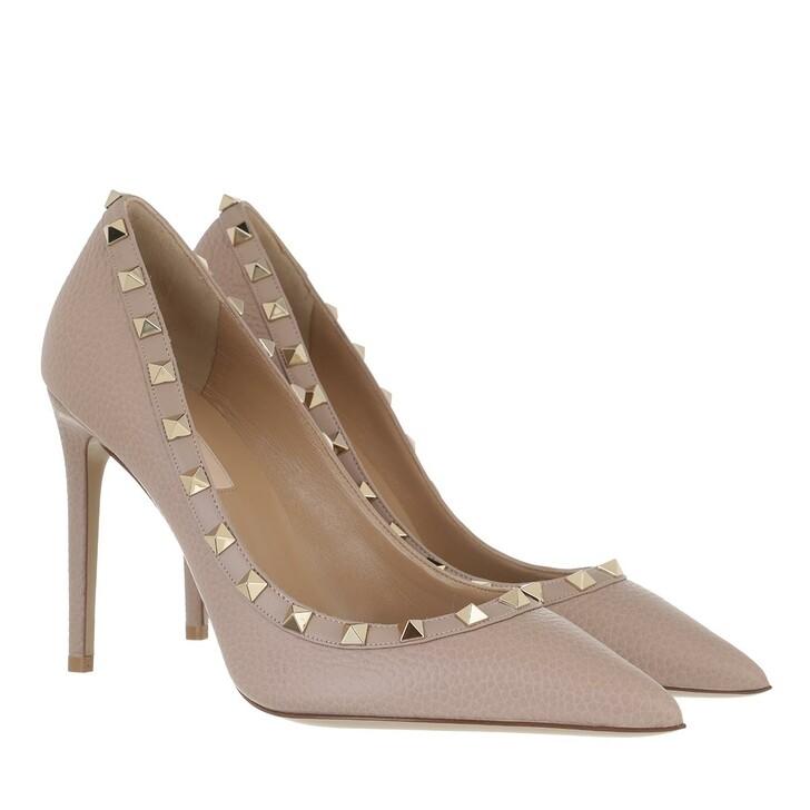 shoes, Valentino Garavani, Rockstud Pump Grained Leather Poudre
