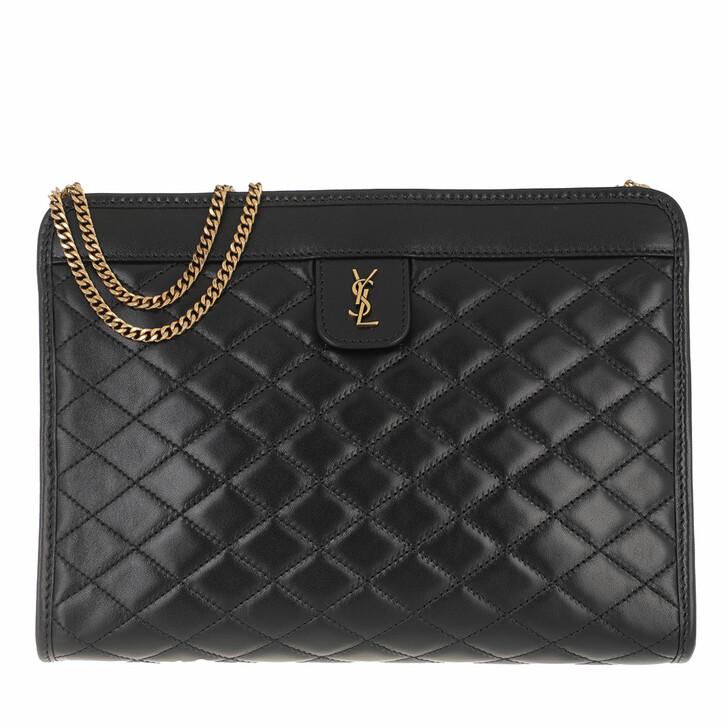 bags, Saint Laurent, Victoire Baby Clutch Leather Black