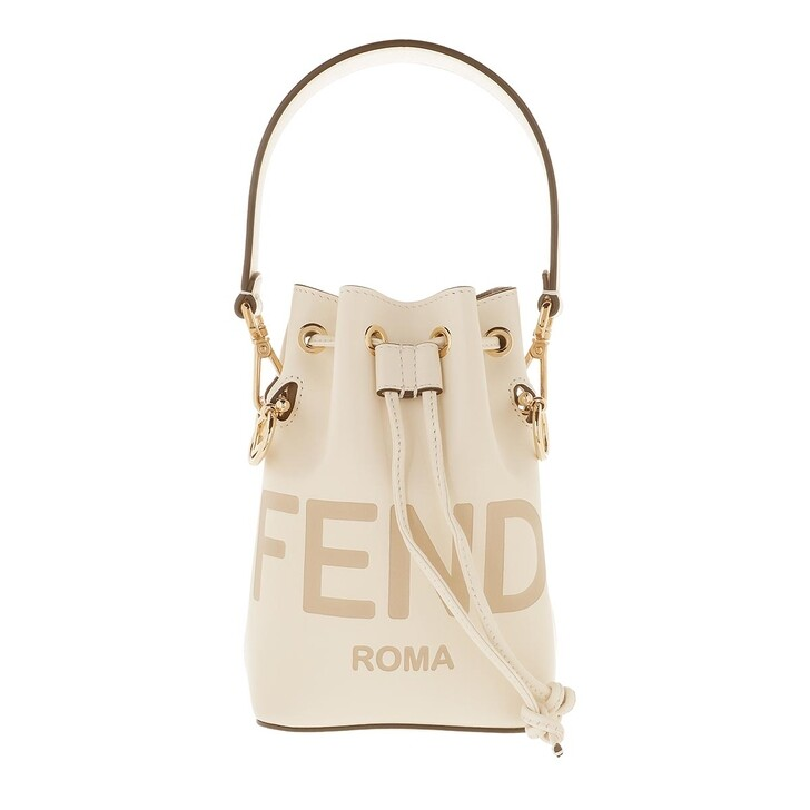 Handtasche, Fendi, Mini Logo Bucket Bag Leather White
