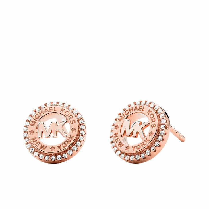 Ohrring, Michael Kors, 14k Gold-Plated Dainty Logo Stud Earrings Rose Gold-Tone