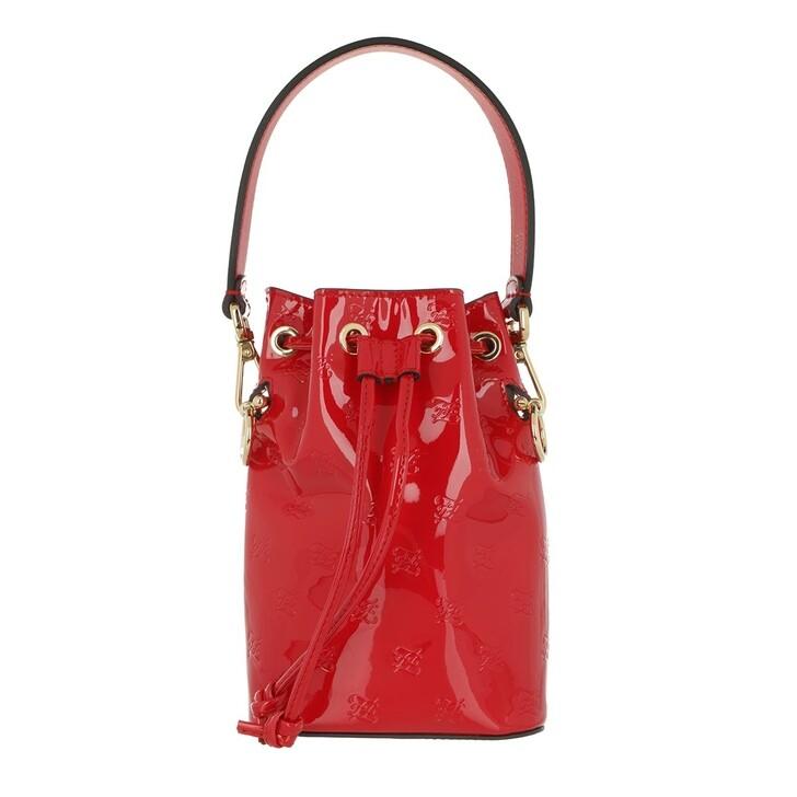 bags, Fendi, Mon Tresor Bucket Bag Patent Leather Rosso Cardinale