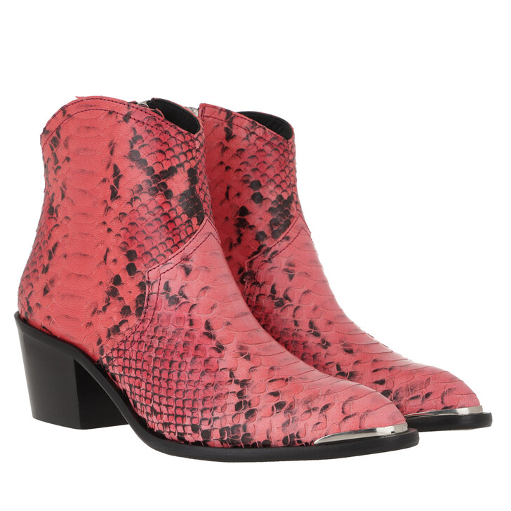 Schuh, Toral, Ankle Boots Leather Snake Print Red