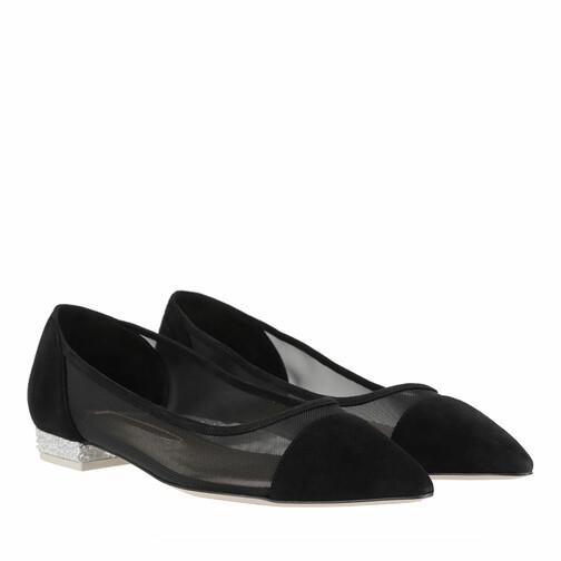 sophia webster -  Loafers & Ballerinas - Jasmine Crystal Flat Suede - in schwarz - für Damen