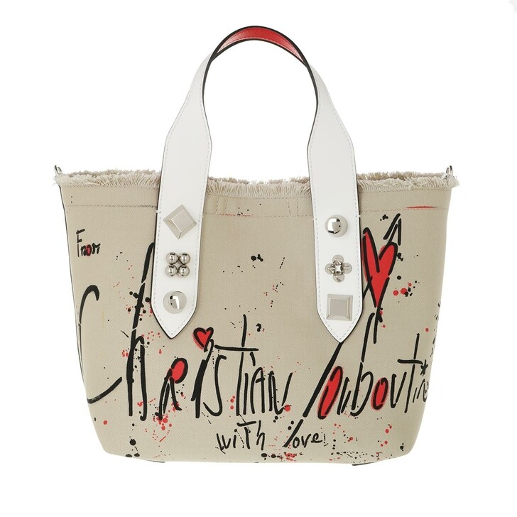bags, Christian Louboutin, Small Frangibus Tote Bag Beige/Black/Silver