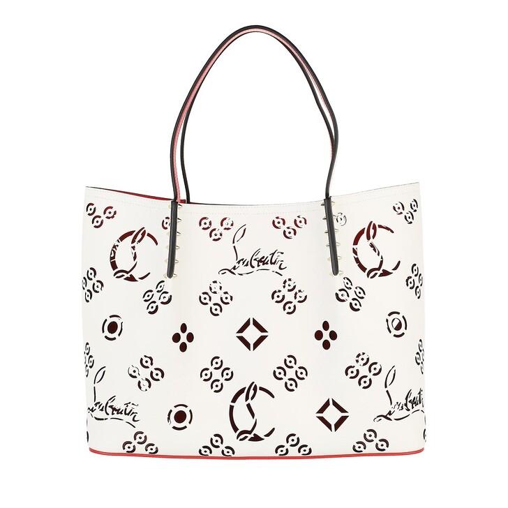 bags, Christian Louboutin, Large Cabarock Tote Bag Snow/Loubi Red