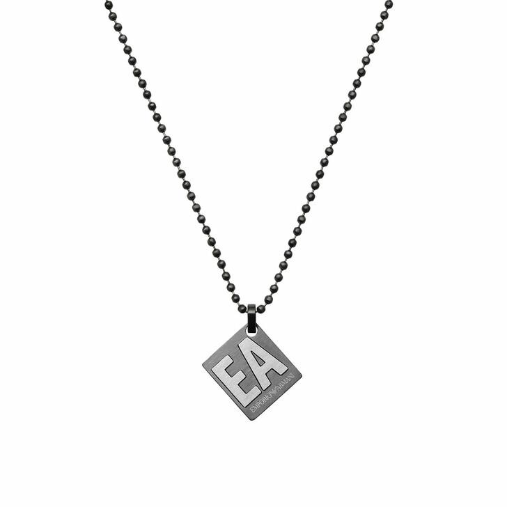 Kette, Emporio Armani, Men Stainless Steel Pendant Necklace Gunmetal