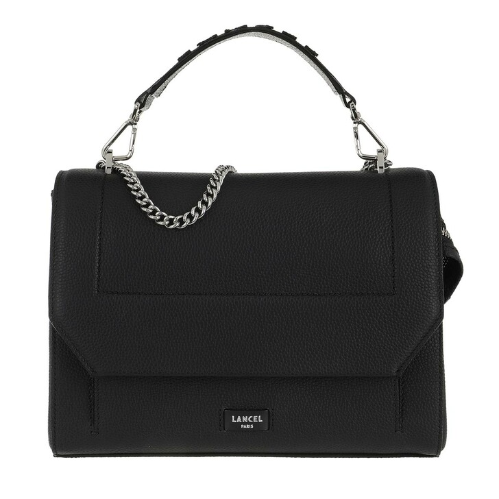 Handtasche, Lancel, Ninon Grained Leather Flap Bag Large Black