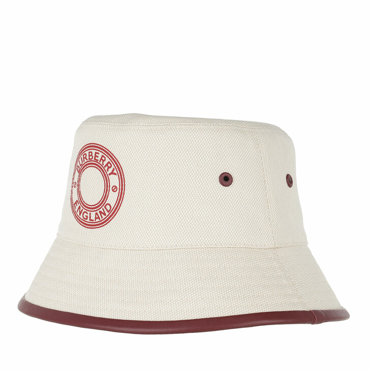 hats, Burberry, Logo Graphic Bucket Hat Canvas Leather Beige