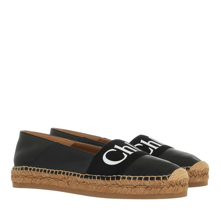 shoes, Chloé, Woody Flat Espadrilles Leather Canvas Black