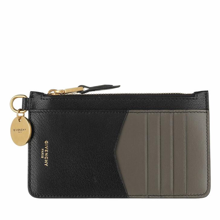 Geldbörse, Givenchy, Gv3 Zipped Card Holder Leather Dark Grey