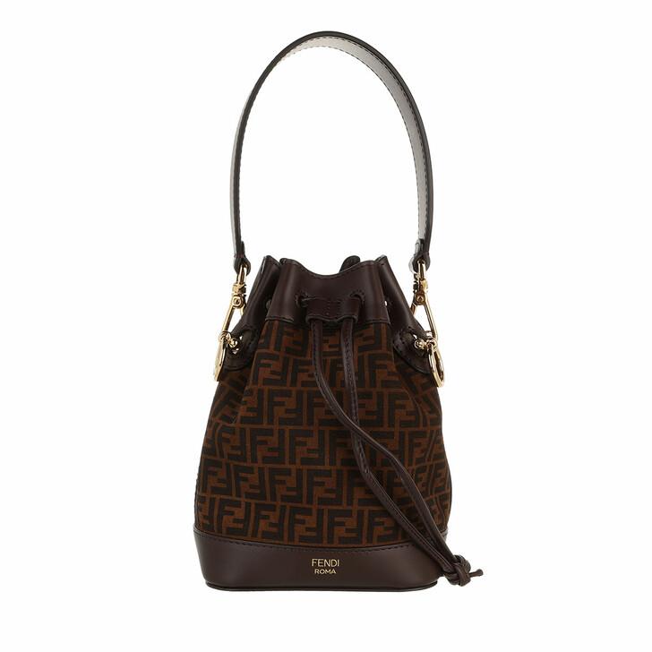 bags, Fendi, Mini Mon Tresor FF Print Bucket Bag Brown