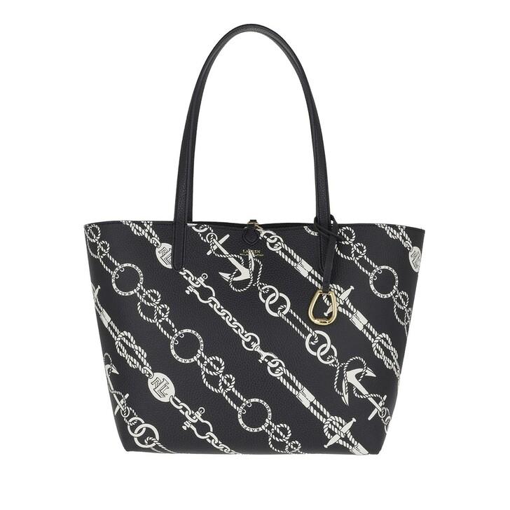 bags, Lauren Ralph Lauren, Reversible Tote Bag Medium Anchored Ropes Red