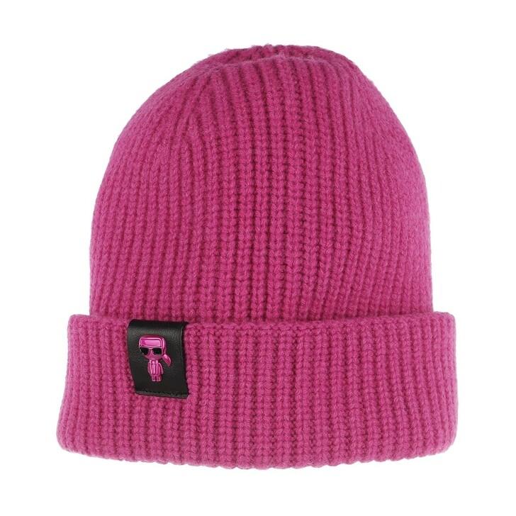 hats, Karl Lagerfeld, K/Ikonik 3d Pin Beanie Fuchsia