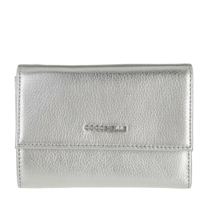 wallets, Coccinelle, Metallic Soft Wallet Silver