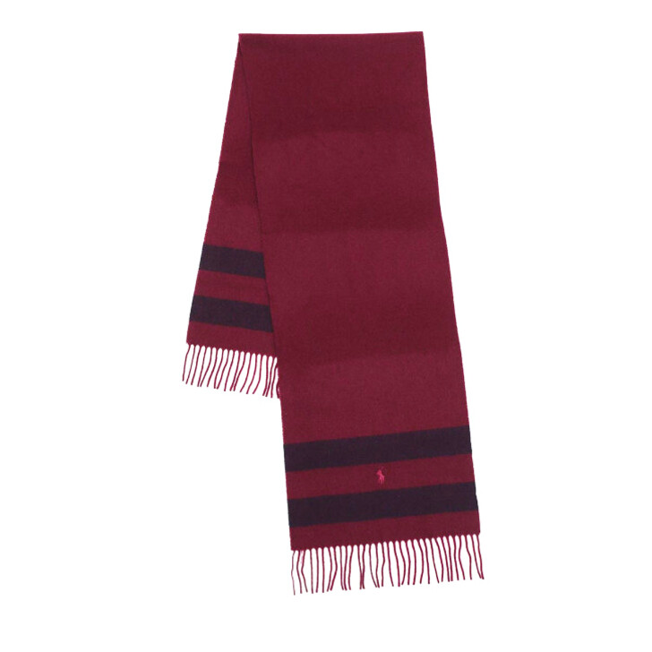 Schal, Polo Ralph Lauren, Wool Blanket Oblong Scarf Wine Navy