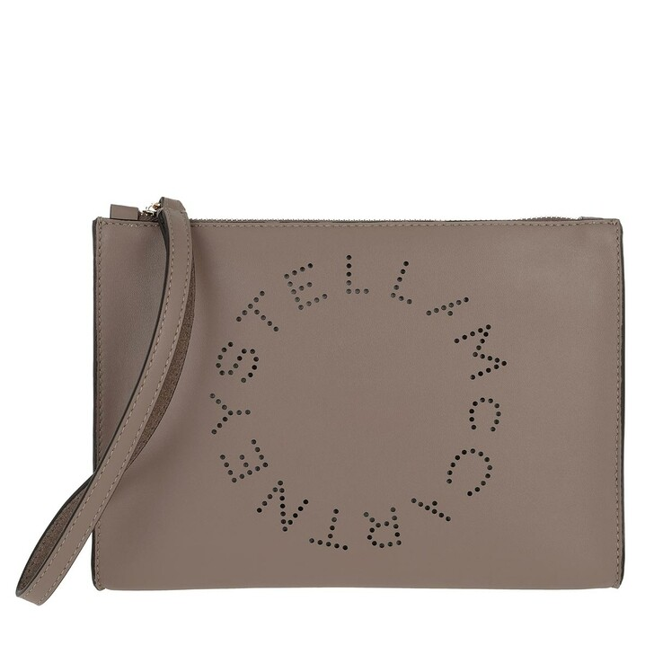 Handtasche, Stella McCartney, Zip Pouch With Perforated Logo Leather Moss