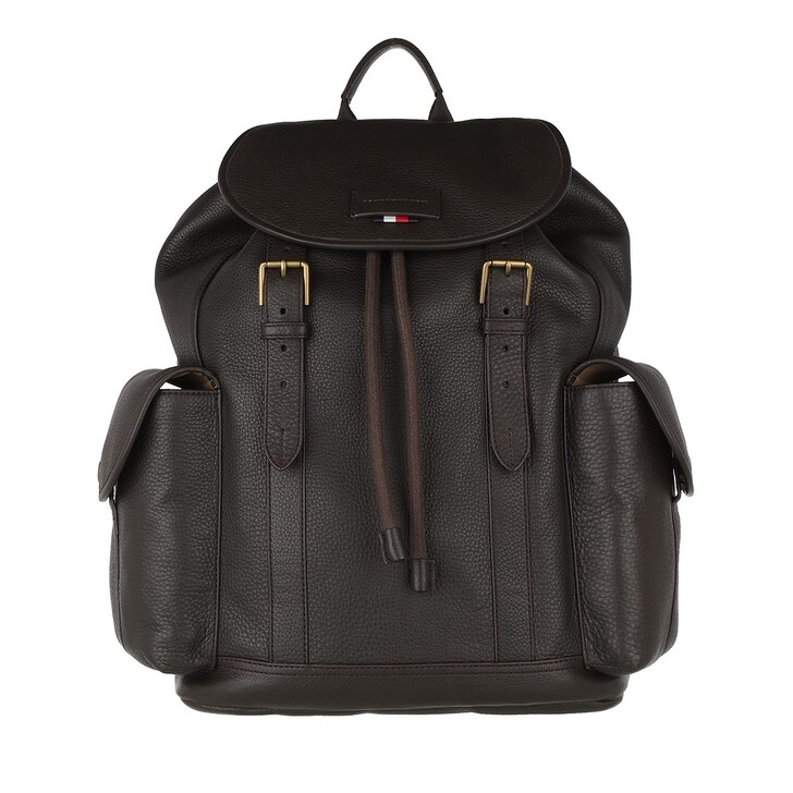Reisetasche, Tommy Hilfiger, Casual Flap Backpack Leather Cigar
