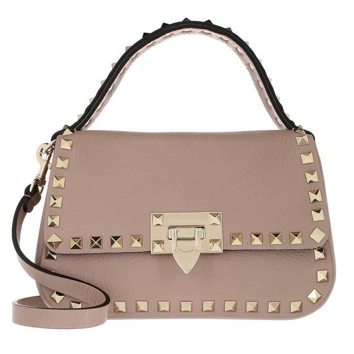 Handtasche, Valentino Garavani, Rockstud Shoulder Bag Leather Poudre