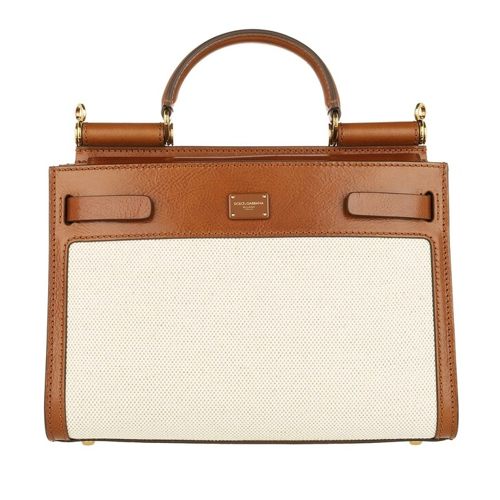 Handtasche, Dolce&Gabbana, Sicily Satchel Bag Leather Naturale Noce