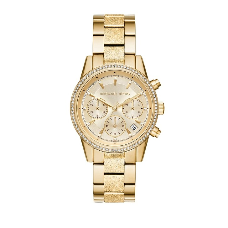 watches, Michael Kors, Women's Ritz Chronograph Stainless Steel Gold