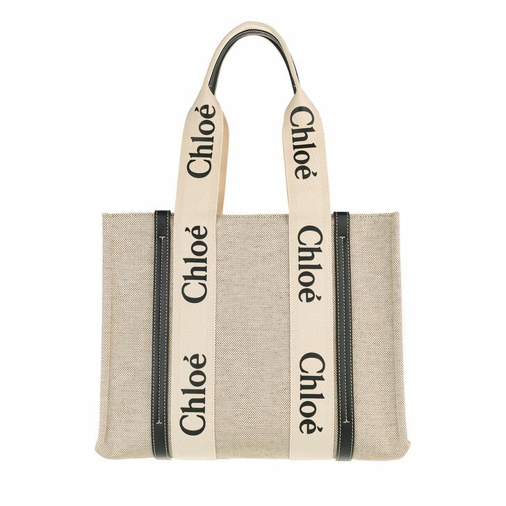 Handtasche, Chloé, Medium Woody Shopper Canvas White Blue
