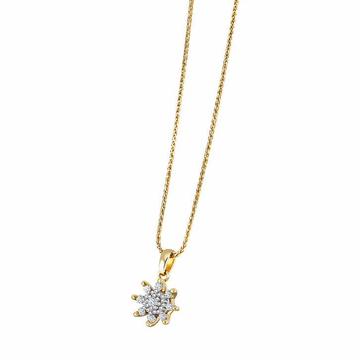 necklaces, diamondline, Pendant/Chain 375 9 Diamonds total approx. 0,14 ct Yellow Gold