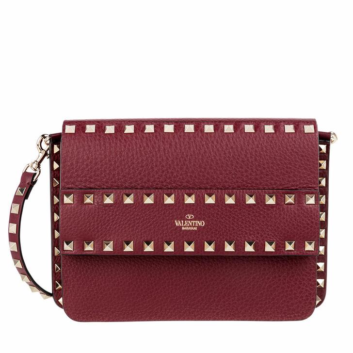 Handtasche, Valentino, Rockstud Shoulder Bag Leather Cerise