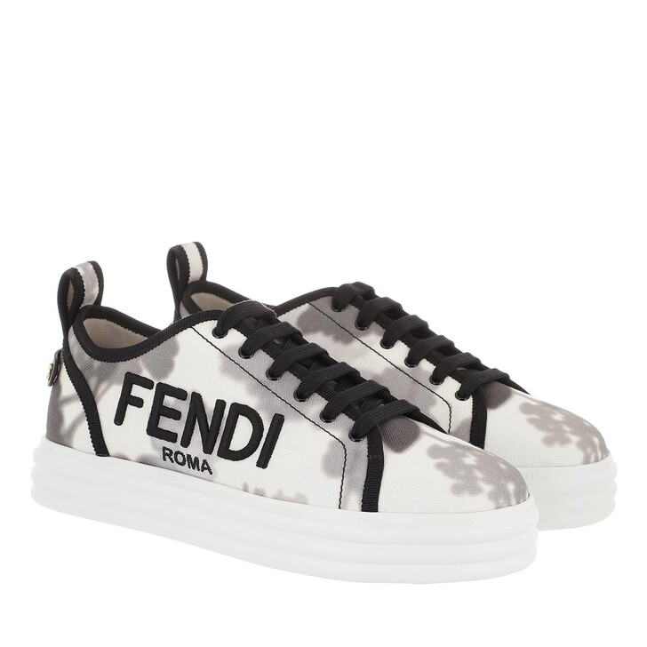 Schuh, Fendi, Canvas Flatform Sneakers White Grey Black
