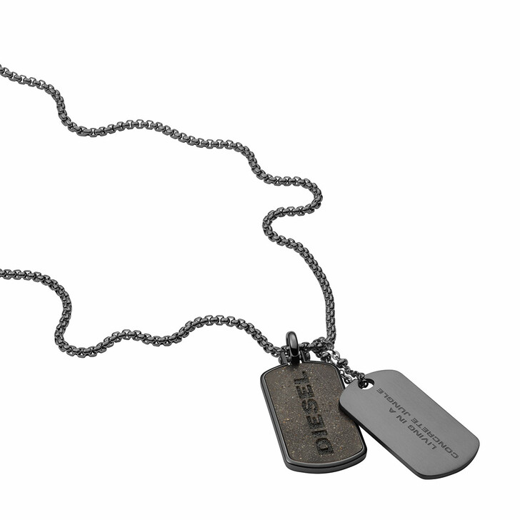 Kette, Diesel, Stainless Steel Double Dogtag Necklace Gunmetal