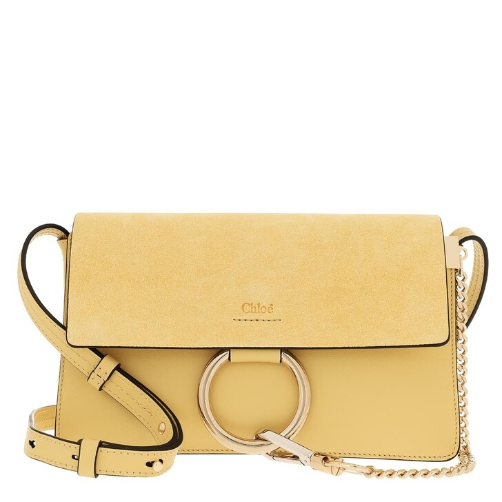 Handtasche, Chloé, Faye Shoulder Bag Small Leather Yellow