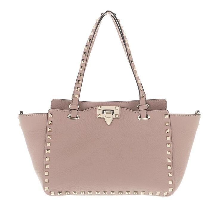 Handtasche, Valentino Garavani, Rockstud Small Tote Leather Poudre Pourde