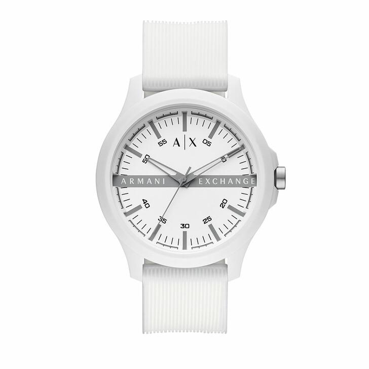 watches, Armani Exchange, Three-Hand Silicone Watch White