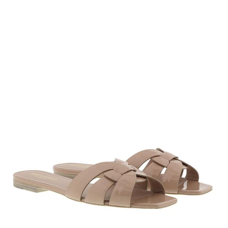 Schuh, Saint Laurent, Nu Pieds Slide Sandals Shiny Leather Nude