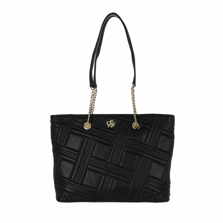 bags, DKNY, Alice Medium Chain Tote Quilted Black Gold