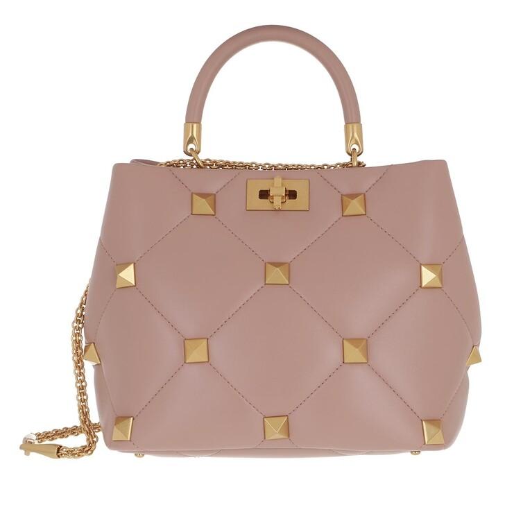 bags, Valentino Garavani, Roman Stud Handle Bag Rose Quarz