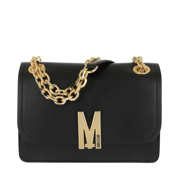 Handtasche, Moschino, Leather Shoulder Bag Chain Black Fantasy Print