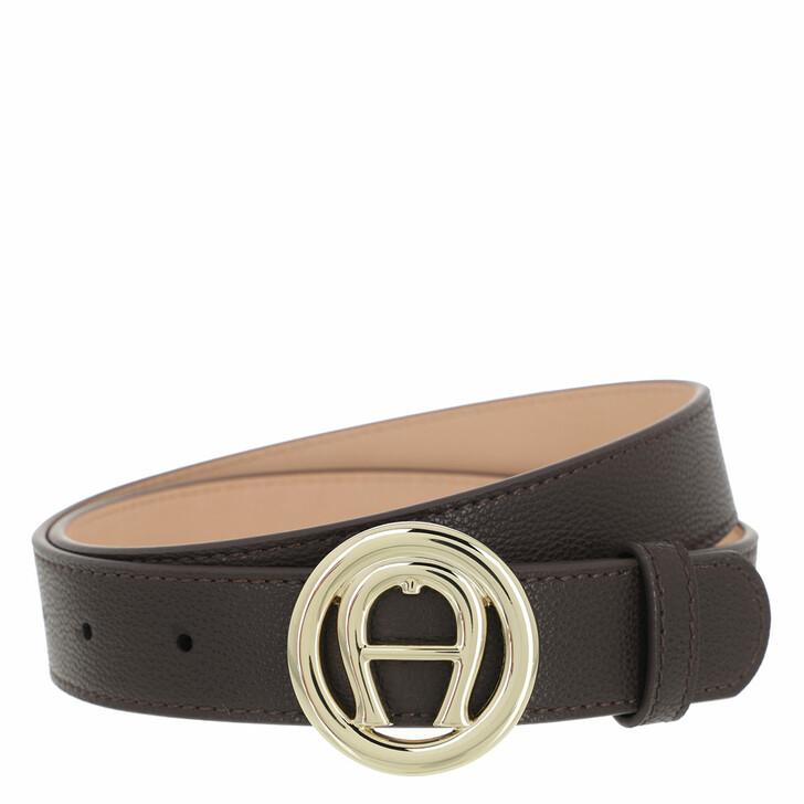 belts, AIGNER, Livia Belt 3 cm Espresso Brown