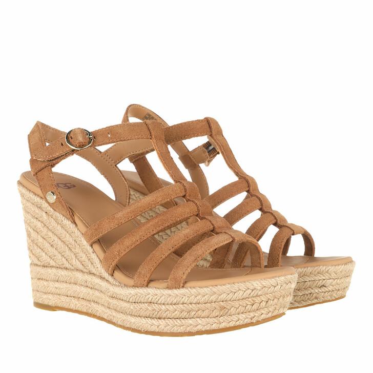 shoes, UGG, Cressida Sandal Suede Chestnut