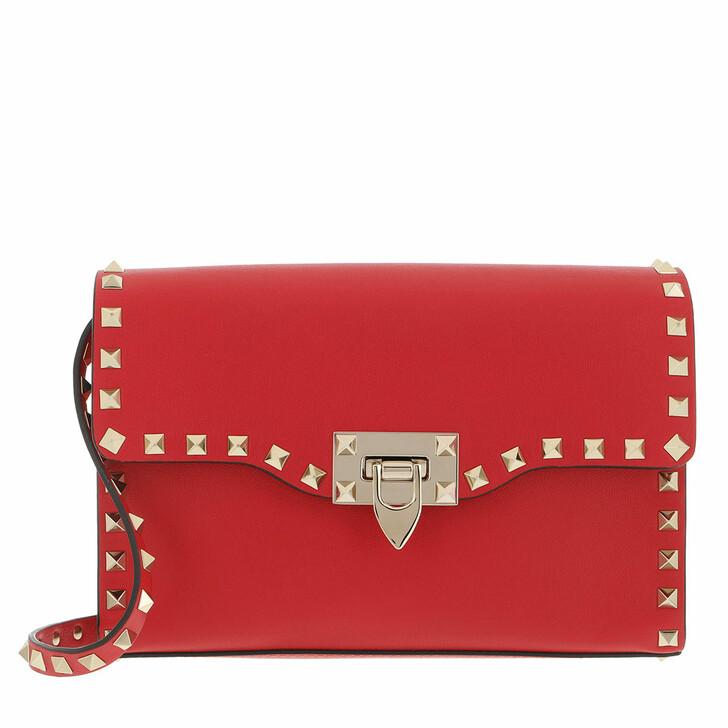 bags, Valentino Garavani, Rockstud Crossbody Bag Small Leather Rouge Pur