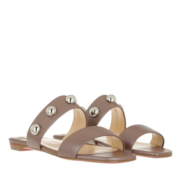 Schuh, Christian Louboutin, Simple Bille Dome Studs Flat Sandals Leather  Biscotto/Silver