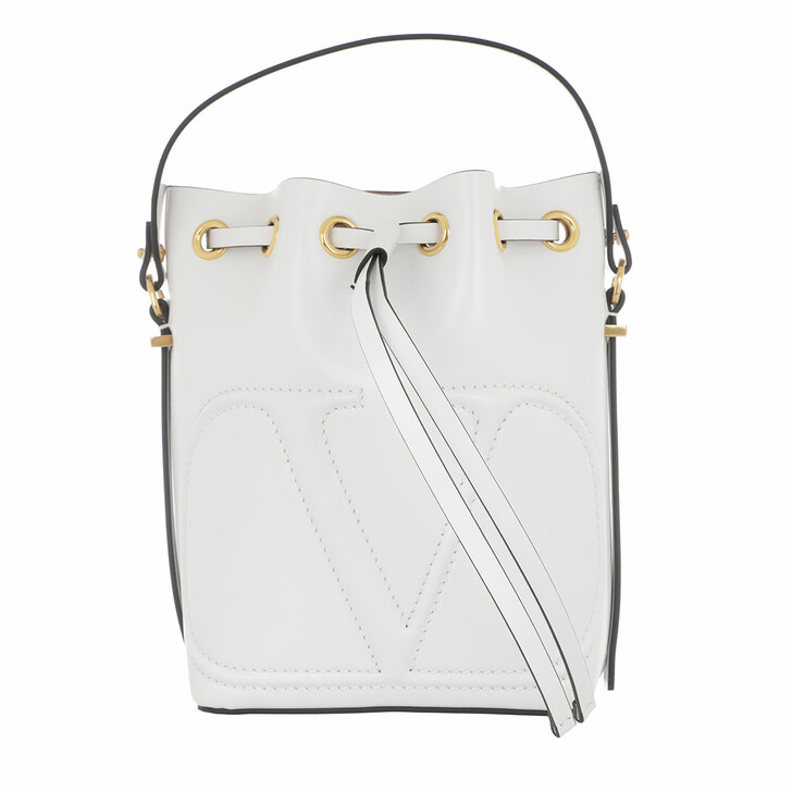 Handtasche, Valentino, V Logo Bucket Bag Leather White