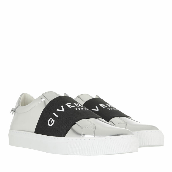 shoes, Givenchy, Mirror Effect Webbing Sneakers Leather Silver